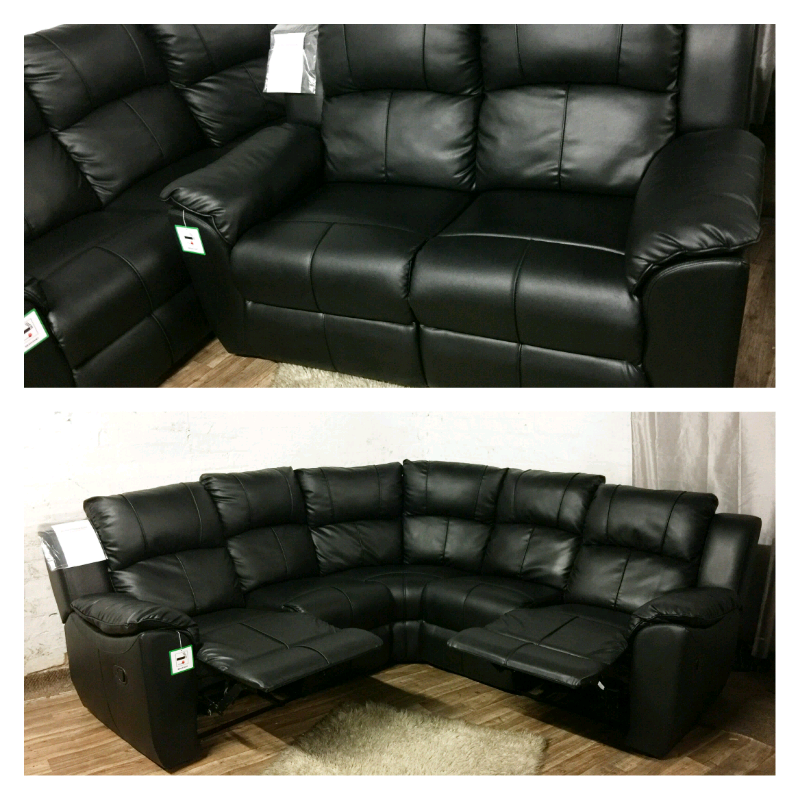 Tremendous Real Leather Black Recliners Corner Sofa In Rochdale Manchester Gumtree Download Free Architecture Designs Sospemadebymaigaardcom