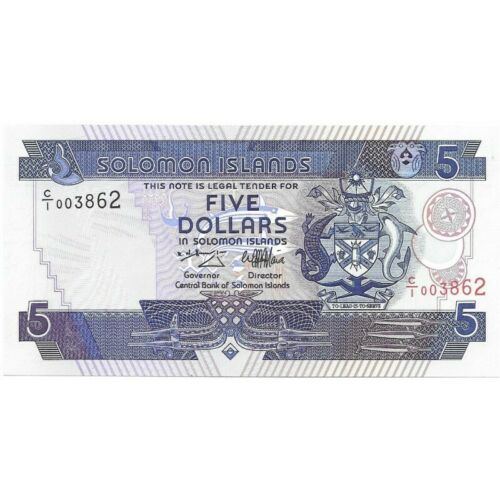 SOLOMON ISLANDS 1986 (ND) $5 DOLLAR PICK # 14 -CRISP UNC BANKNOTE!-d966unx
