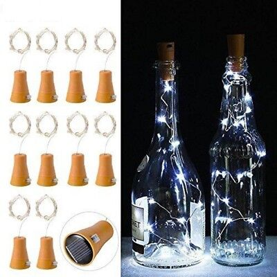 20 LED Solar Weinflasche Kork String Light Nacht Fairy Party Licht Lampe 8 Farbe