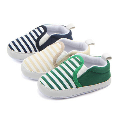 Toddler Baby Boy Shoes Newborn Crib Shoes Kids Sole Striped Shoes 0-12 -