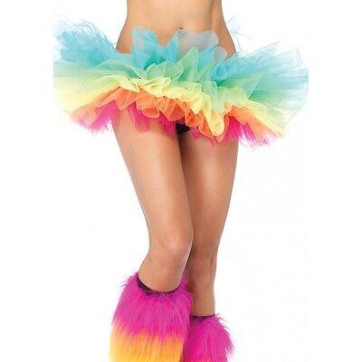 LA-A1706 Sexy Rainbow Organza Tutu Skirt Halloween Costume Gogo Rave Raver Wear (Halloween Rave Wear)