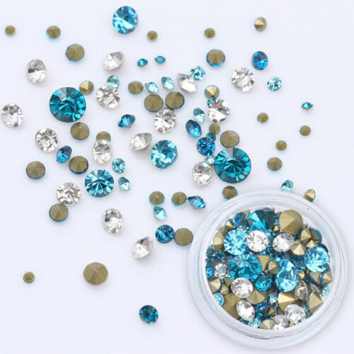 1728pcs Nail Art Rhinestones Glitter Diamonds Crystal Gems 3D Tips Decorations