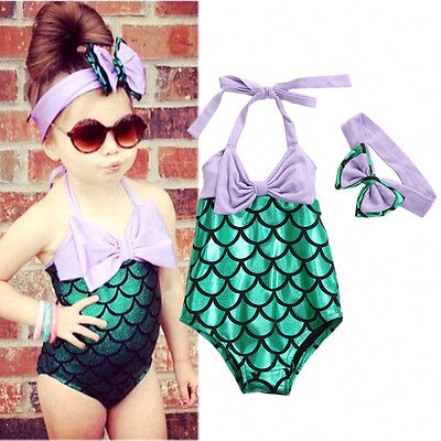 US Stock Mermaid Toddler Kids Girls Swimwear Bikini Set Swimsuit Bathing Suit