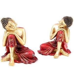 Rojo-Y-Oro-Effect-Espiritual-Buda-Tailandes-Descansando-Decoracion-Del-Hogar