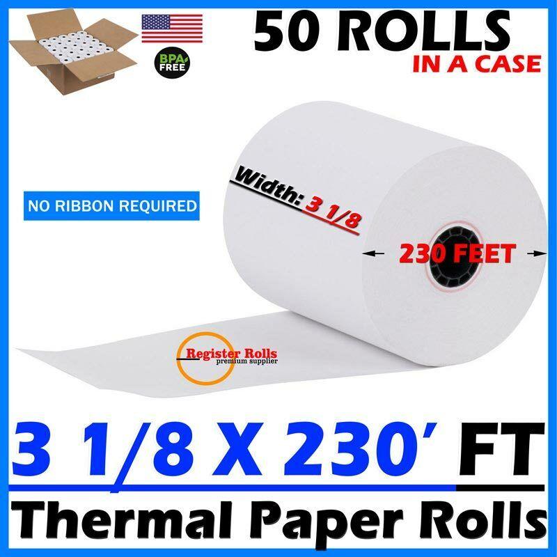 3 1/8 x 230 thermal paper 50 ROLLS - Star Micronics TSP100 - Register Rolls