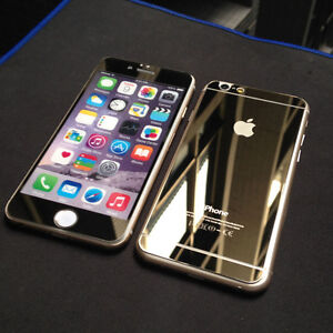 Iphone 6 6s Plus Tempered Glass Mirror Gold Finish Front + Back Windsor Region Ontario image 2