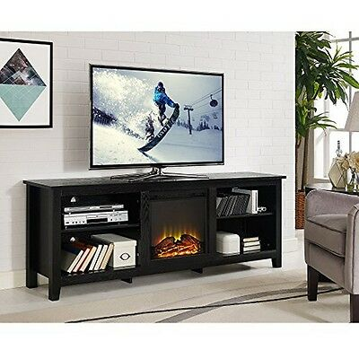 "مكتبة تلفزيون جديد WE Furniture 70"" Wood Fireplace TV Stand Console, Black New"