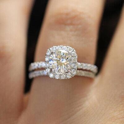 Round Cut Faux Diamond Halo Engagement Ring Set Silver Band Wedding Jewelery