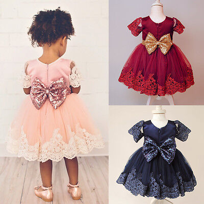 USA Flower Girls Baby Sequin Bow Princess Tutu Dress Party Wedding Birthday Gown - Cotton Flower Girl Dresses