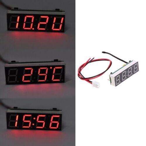 3 in 1 Digital Car LED Electronic Clock Time Temperature Voltage Meter 12V 5-20V