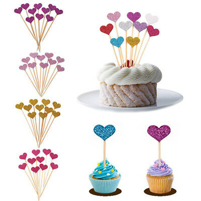 30/50Pcs Heart Cake Cupcake Toppers Decor for Birthday Wedding Party Baby Shower (50 Cake)