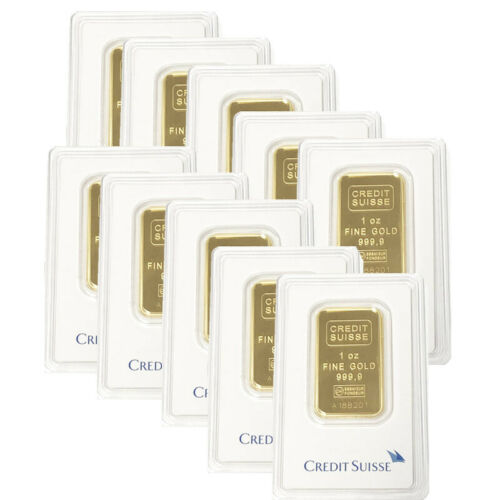 Lot of 10 Gold 1 oz Gold Credit Suisse Bar .9999 Fine Sealed BANK WIRE ONLY