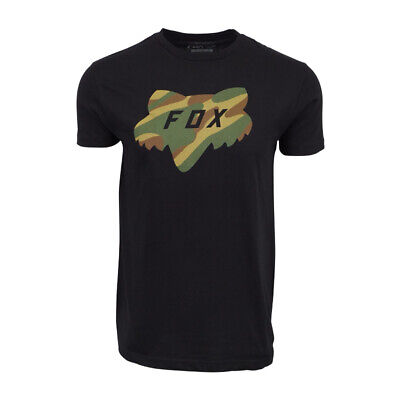 FOX RACING PREMIUM MENS FOX CAMO HEAD LOGO T SHIRT BLACK