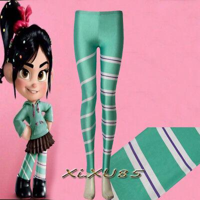 Wreck It Ralph Halloween (Wreck-It Ralph 2 Vanellope Cosplay Leggings Pants Costume Halloween Custom)