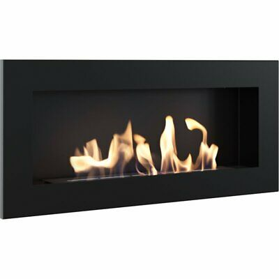 Kratki Bio Fireplace Wall Mounted, Black 90cm W x 40cm H x 12cm L