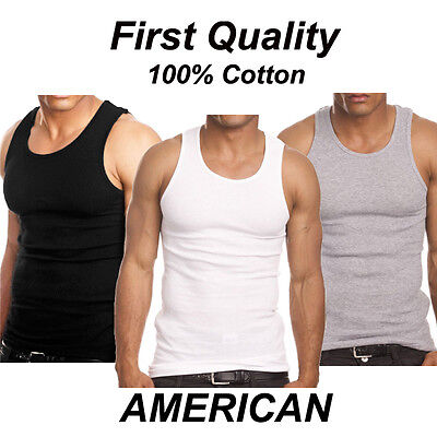 Lot 3 6 Mens 100  Cotton Tank Top A Shirt Wife Beater Undershirt Ribbed Muscle