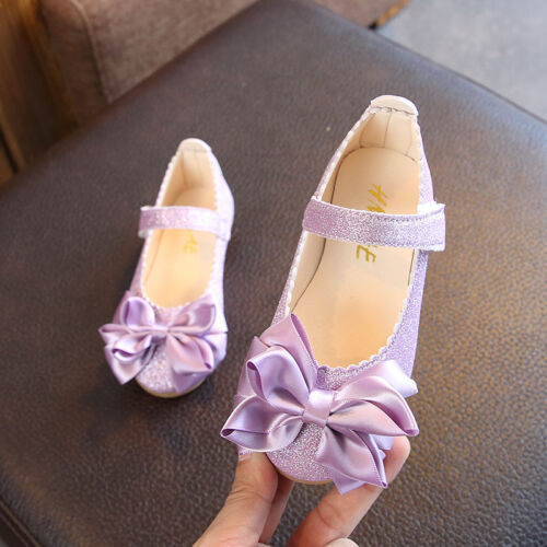 b5a95d79161f Princess Flats Bow Shoes for Infant Baby Girl Children Kids Dance Wedding  Shoes