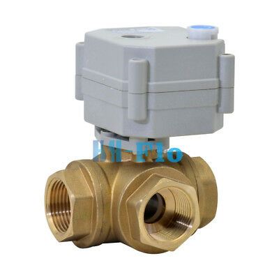 34 3 Way L Port 12v24vdc Brass Auto Return Motorized Electrical Ball Valve