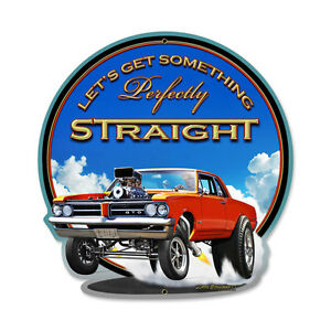 PONTIAC-DRITTO-GTO-metallo-Schild-38cm-V8-Blower-Muscle-Car-Drag-Racing-USA