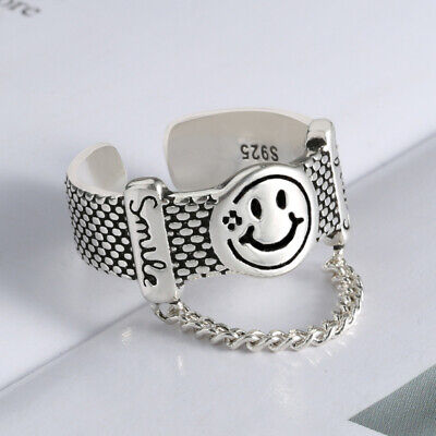 Vintage Smiley Face Adjustable Ring 925 Sterling Silver Women Jewellery Gift UK