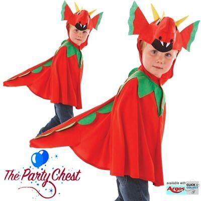 Boys Red Dragon Cape Costume Welsh Fancy Dress Kids Book Week Outfit - - Welsh Boy Kostüm
