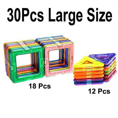 30Pcs Large All Magnetic Building Blocks Construction Kids Toys Triangle+Square