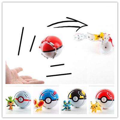4PCS/Set Bounce Pokemon Throw Pokeball Cosplay Pop-up Elf Go Ball Toys Lot &