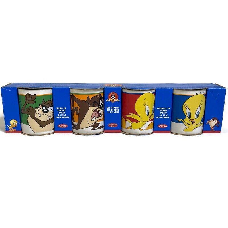 New Looney Tunes Vintage 1998 4 Mug Set 11oz Tweety Bird And Tasmanian Devil