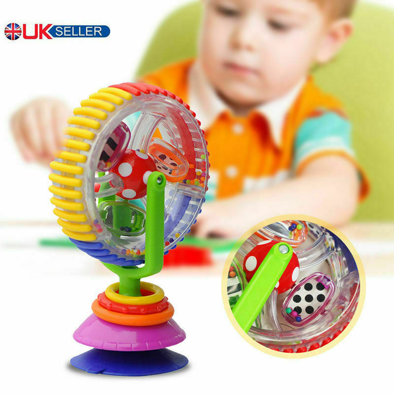 Baby Kid Toy Rainbow Educational Ferris Wheel Rattle Suction High Chair Toy UK