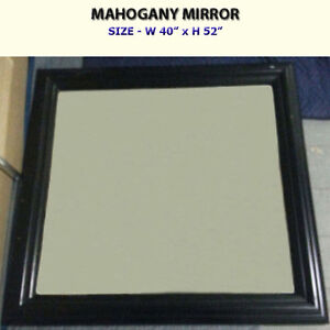LARGE MAHOGANY WALL MIRROR - SOLID WOOD FRAME