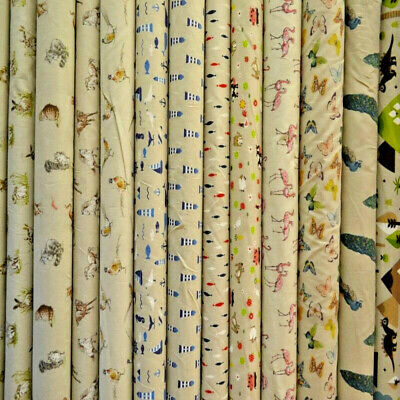PRINTED Cotton Rich Linen Look Fabric Curtain Upholstery Cushion 140CM WIDE