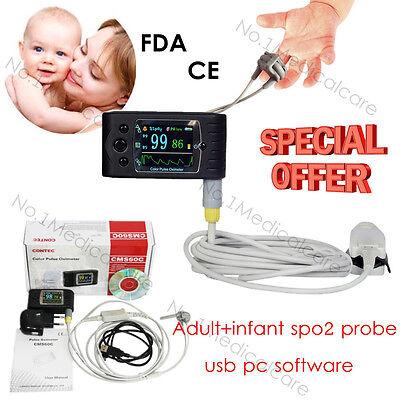 Rechargable Pulse Oximeter Cms60cadultinfantpediatric Spo2 Probealarm Fda Ce