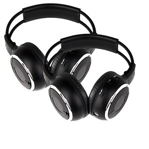 Two Infrared Stereo Wireless Headphone Headset IR for Car DVD Player & Headrest