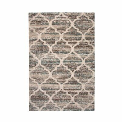 Abacasa Granada Trellis Blue-Brown-Tan 5x8 Area Rug