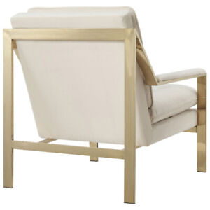 Modern Polyester Accent Chair - Cream/Gold (NEW)$195