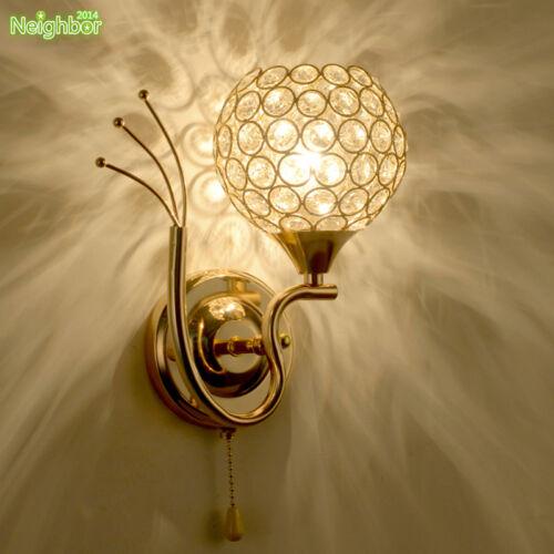 Modern Crystal LED Wall Lamp Bedroom Bedside Lighting Living