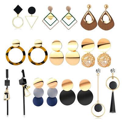 Fashion Women Statement Boho Geometric Big Pendant Ear Stud Dangle Drop Earrings