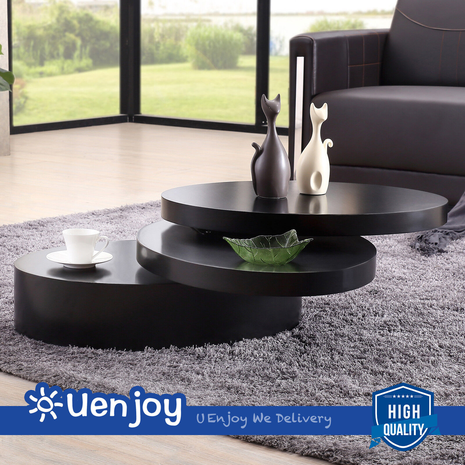 Details About Square Black Coffee Table Rotating Contemporary Modern Living Room Furniture
