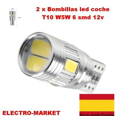 2 x Bombillas led coche T10 W5W 6 smd 12v 5630 5730 194 168 BLANCO- CANBUS