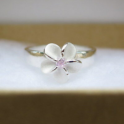 Hawaiian Jewelry 8mm Silver Plumeria Flower Pink CZ Toe Ring Open Cut TR1262
