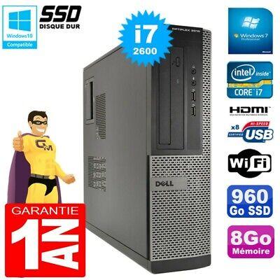 PC DELL 3010 DT Core I7-2600 Ram 8Go Disque 960Go SSD Graveur Wifi W7