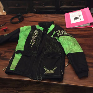 Arctic Cat snowmobile Jacket   black and green youth size 12