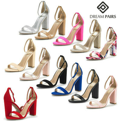 DREAM PAIRS Women's High Chunky Heel Sandals Ankle Strap Open Toe Pump Shoes Ankle Strap High Heel Pumps