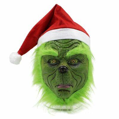 Die grinch stahl maske mit weihnachtsmütze party prop - Grinch Kostüm Maske