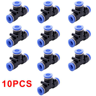 10pcs Tube 6mm 14 Tee Union Pneumatic Push Connector Air Line Quick Fittings Ws