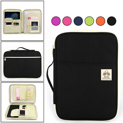 A4 Portfolio Zipped Conference Folder Business Document Case Bag File Office
