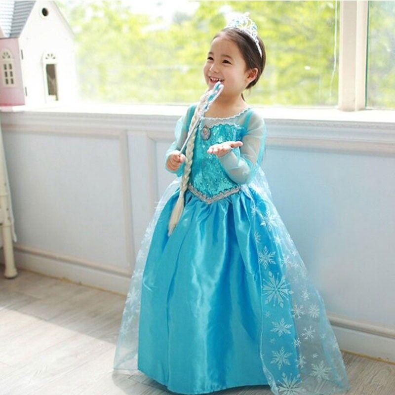 girl dresses princess children anna elsa cosplay