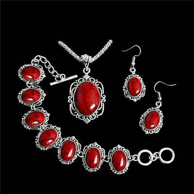 Elegant Women Silver Faux Turquoise Jewelry Set Necklace+Drop -