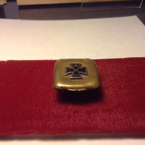 WW1 Antique German Trench Art Small Pill Trinket Case Box