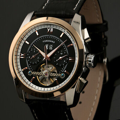 Mens Watch Mechanical Black Face Leather Date Month Display Tourbillon -